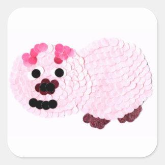 Pegatina Cuadrada Cerdo rosado