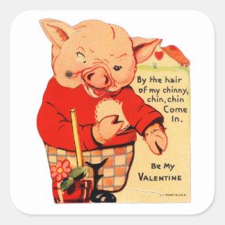 Pegatina Cuadrada Cerdos de la tarjeta del día de San Valentín tres