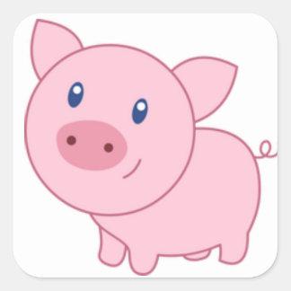 Pegatina Cuadrada Cerdos rosados