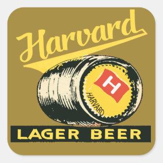 Pegatina Cuadrada Cerveza de cerveza dorada de Harvard