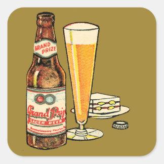 Pegatina Cuadrada Cerveza de cerveza dorada premiada magnífica