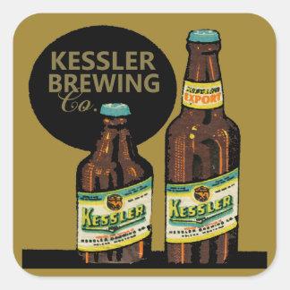 Pegatina Cuadrada Cerveza de la exportación de Kessler
