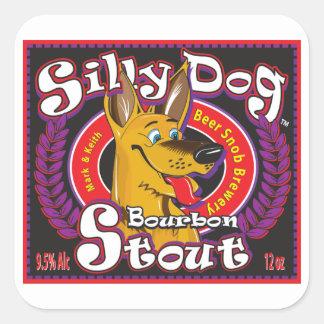 Pegatina Cuadrada Cerveza de malta tonta de Borbón del perro