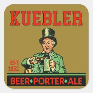 Pegatina Cuadrada Cerveza inglesa del portero de Kuebler