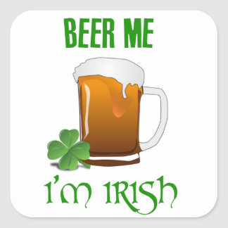 Pegatina Cuadrada Cerveza yo soy irlandés