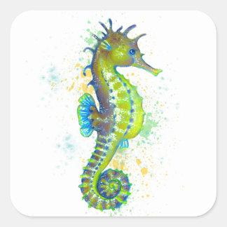 Pegatina Cuadrada Chapoteo del Seahorse del verde amarillo