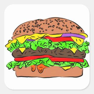 Pegatina Cuadrada Cheeseburger