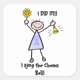 Pegatina Cuadrada Chemo Bell - general Cancer de la mujer