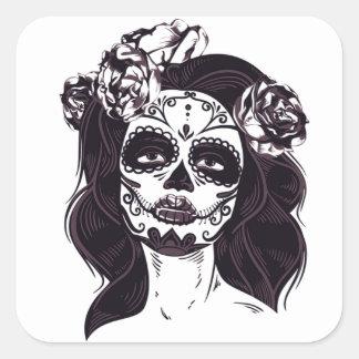 Pegatina Cuadrada Chica del espíritu necrófago