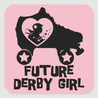 Pegatina Cuadrada Chica futuro de Derby, diseño del patinaje sobre