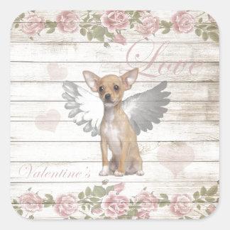 Pegatina Cuadrada Chihuahua del vintage - día de San Valentín