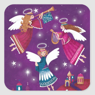Pegatina Cuadrada Chritmas religioso moderno, tres ángeles