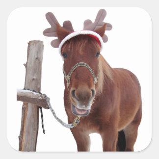 Pegatina Cuadrada Ciervos del caballo - caballo del navidad -