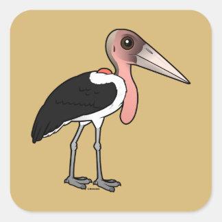 Pegatina Cuadrada Cigüeña de marabú de Birdorable
