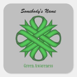 Pegatina Cuadrada Cinta verde del trébol de Kenneth Yoncich
