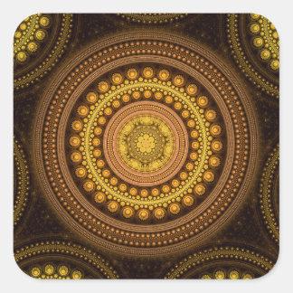 Pegatina Cuadrada Círculos del fractal