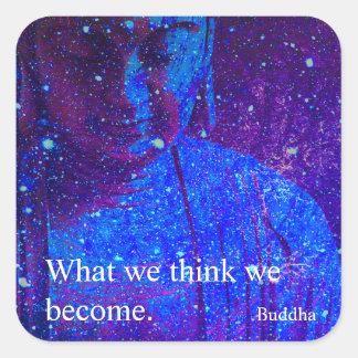Pegatina Cuadrada Cita celestial inspirada de motivación de Buda