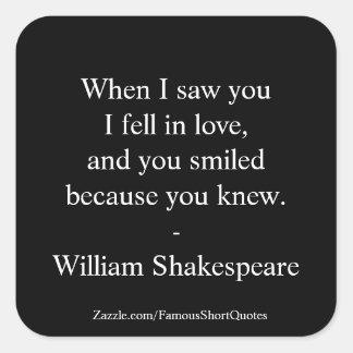Pegatina Cuadrada Cita de Shakespeare - caí en amor