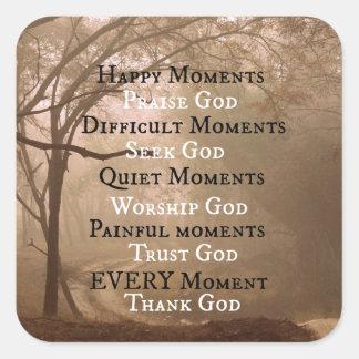 Pegatina Cuadrada Cita feliz de dios de la alabanza de los momentos