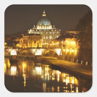 Pegatina Cuadrada Ciudad del Vaticano, Roma, Italia en la noche
