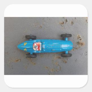 Pegatina Cuadrada Coche azul del juguete