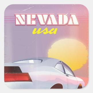 Pegatina Cuadrada Coche de deportes del sol poniente de Nevada los
