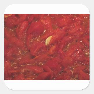 Pegatina Cuadrada Cocinar la salsa de tomate hecha en casa