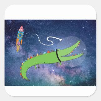 Pegatina Cuadrada Cocodrilo en el arte de los niños del espacio