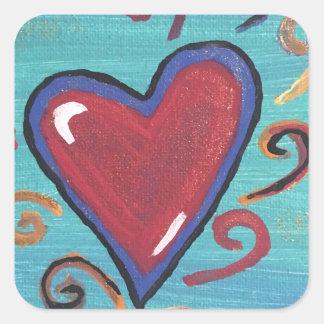 Pegatina Cuadrada Colección roja de los corazones