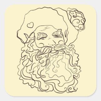 Pegatina Cuadrada Color de la página del colorante su propio Santa