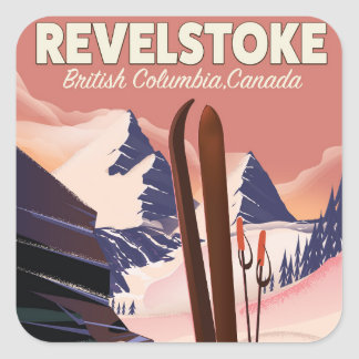 Pegatina Cuadrada Columbia Británica de Revelstoke, poster del esquí