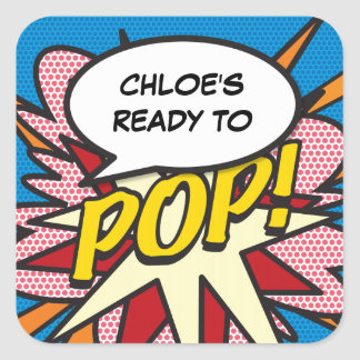Pegatina Cuadrada ¡Cómic listo al POP! Fiesta de bienvenida al bebé