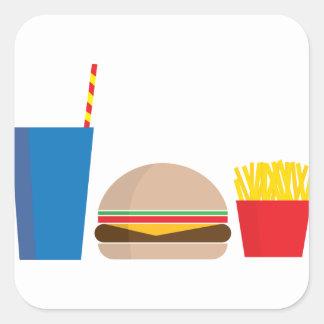 Pegatina Cuadrada comida de alimentos de preparación rápida