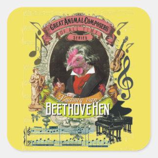 Pegatina Cuadrada Compositores animales Beethoven de la gallina de