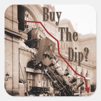 Pegatina Cuadrada Compre el humor del mercado de acción de la