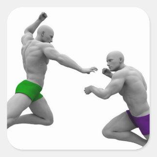 Pegatina Cuadrada Concepto de los artes marciales para luchar y la