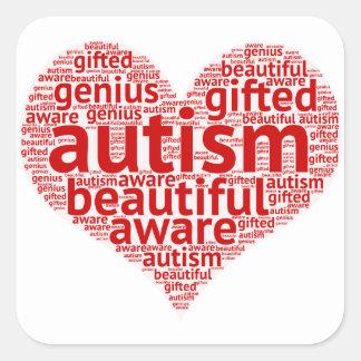 Pegatina Cuadrada Conciencia del autismo