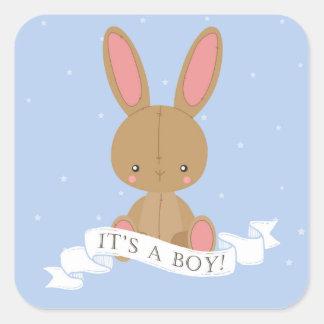 Pegatina Cuadrada ¡Conejo de conejito relleno de Brown es un
