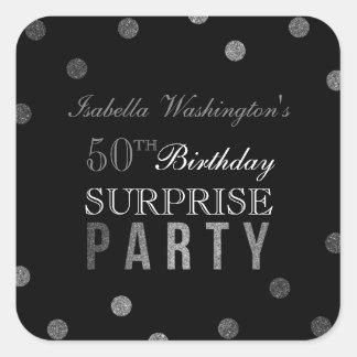 Pegatina Cuadrada Confeti de plata y fiesta de cumpleaños negra de