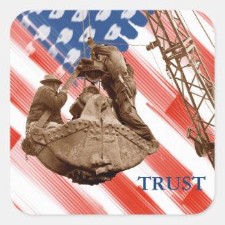 Pegatina Cuadrada Confianza del noroeste de la bandera de los