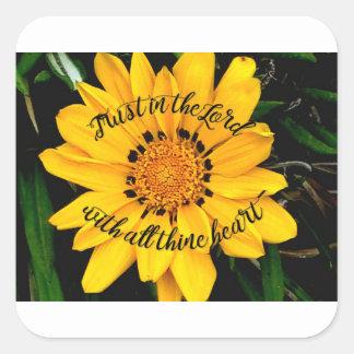 Pegatina Cuadrada Confianza en el señor Bright Yellow Flower