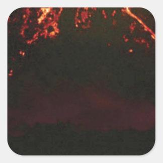 Pegatina Cuadrada cono volcánico llano