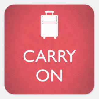 Pegatina Cuadrada CONTINÚE - equipaje - el rojo divertido
