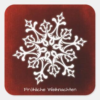 Pegatina Cuadrada Copo de nieve blanco en Fröhliche rojo oscuro