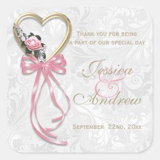 Pegatina Cuadrada Corazón color de rosa, del oro romántico y cinta