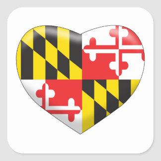 Pegatina Cuadrada Corazón de Maryland