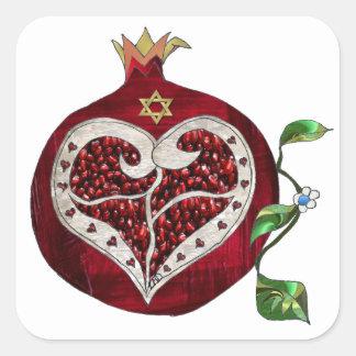 Pegatina Cuadrada Corazón Jánuca Rosh Hashanah de la granada de