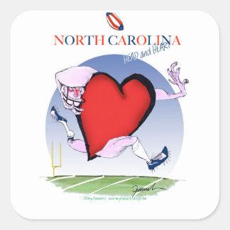 Pegatina Cuadrada corazón principal de Carolina del Norte, fernandes