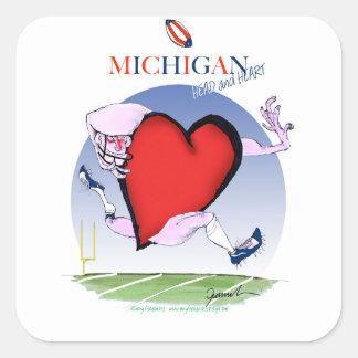 Pegatina Cuadrada corazón principal de Michigan, fernandes tony