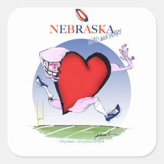 Pegatina Cuadrada corazón principal de Nebraska, fernandes tony
